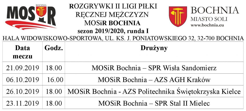 Kiedy zespół II ligi piłki ręcznej mężczyzn MOSiR Bochnia będzie grał w naszym mieście w sezonie 2019/20?