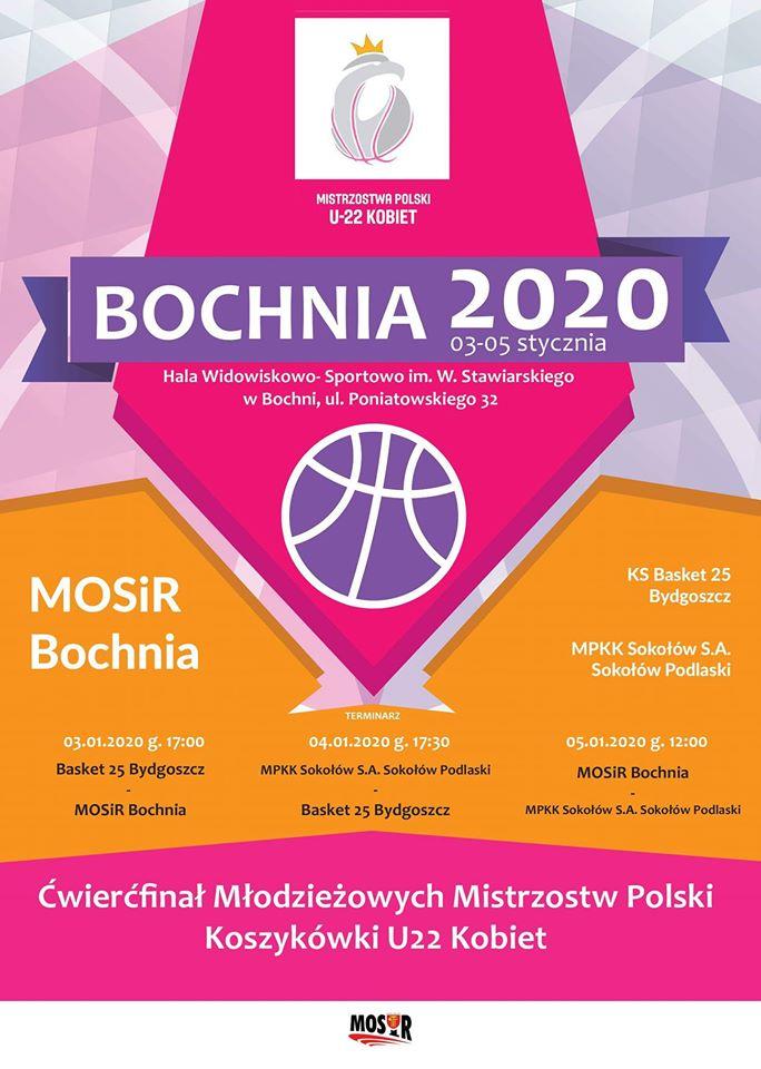 Harmonogram ćwierćfinałów Młodzieżowych Mistrzostw Polski Koszykówki U22 Kobiet, Bochnia 3-5.01.2020