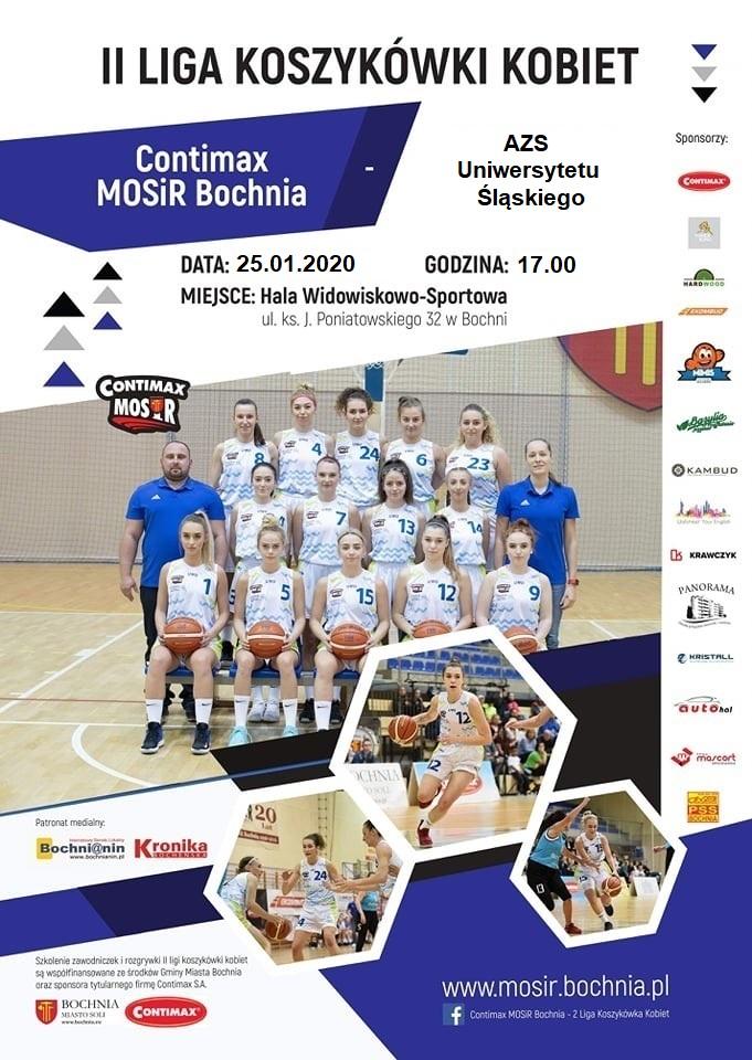 Zapraszamy na mecz Contimax MOSiR Bochnia – AZS Uniwersytetu Śląskiego! 25.01.2020 r.