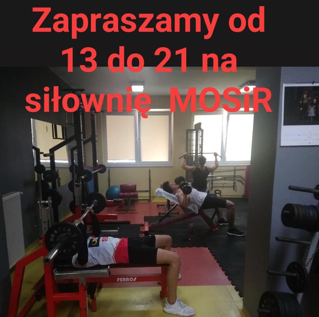 Zapraszamy na siłownię w godz. 13.00 – 21.00