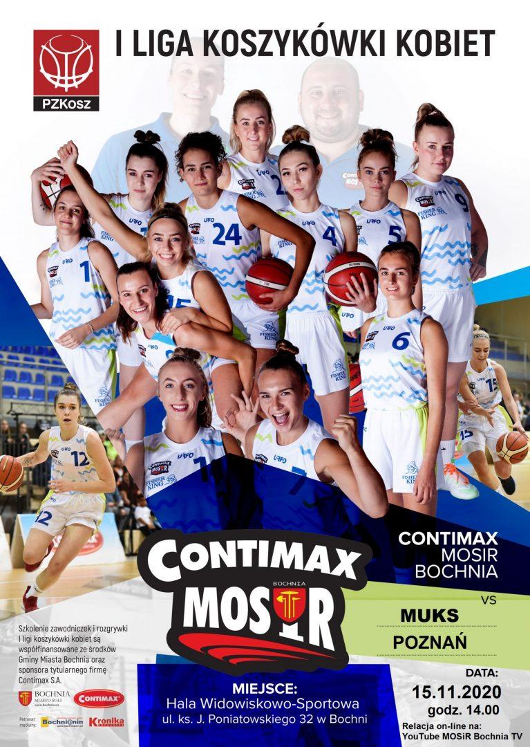 Oglądaj on-line mecz 1 Ligi Koszykówki Kobiet: Contimax MOSiR Bochnia – MUKS Poznań, 15.11.2020