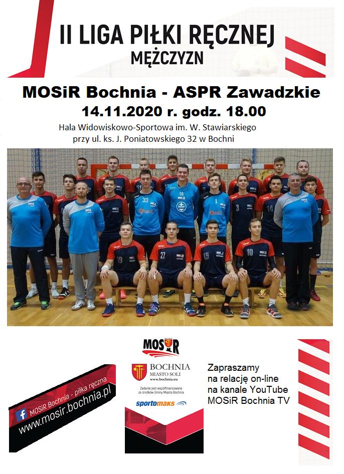 Zapraszamy do oglądania on-line meczu II Ligi Piłki Ręcznej Mężczyzn: MOSiR Bochnia – ASPR Zawadzkie / 14.11.2020