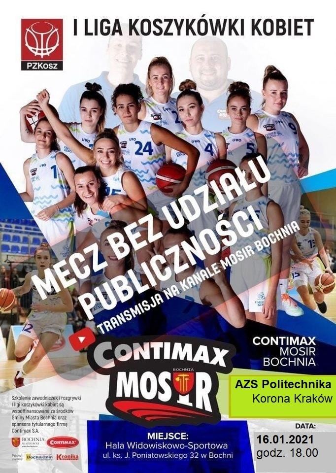 Zapowiedź meczu Contimax MOSiR Bochnia – AZS Politechnika Korona Kraków / 1 Liga Koszykówki Kobiet