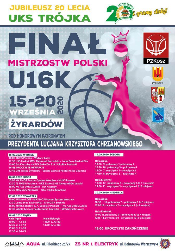 Przed nami finał mistrzostw Polski w koszykówce kobiet do lat 16! 15-20.09.2020 Żyrardów