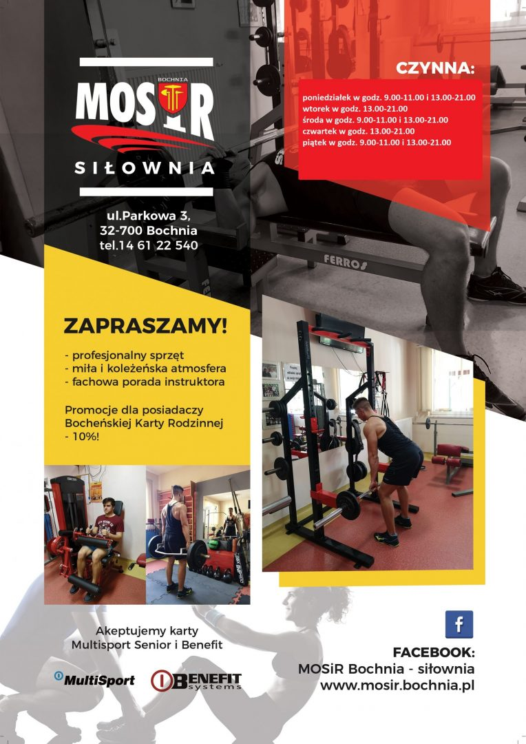 Od 12 października siłownia MOSiR Bochnia czynna również przed południem!