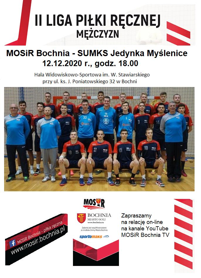 Śledź relację z meczu II Ligi Piłki Ręcznej Mężczyzn: MOSiR Bochnia – SUMKS Jedynka Myślenice / 12.12.2020