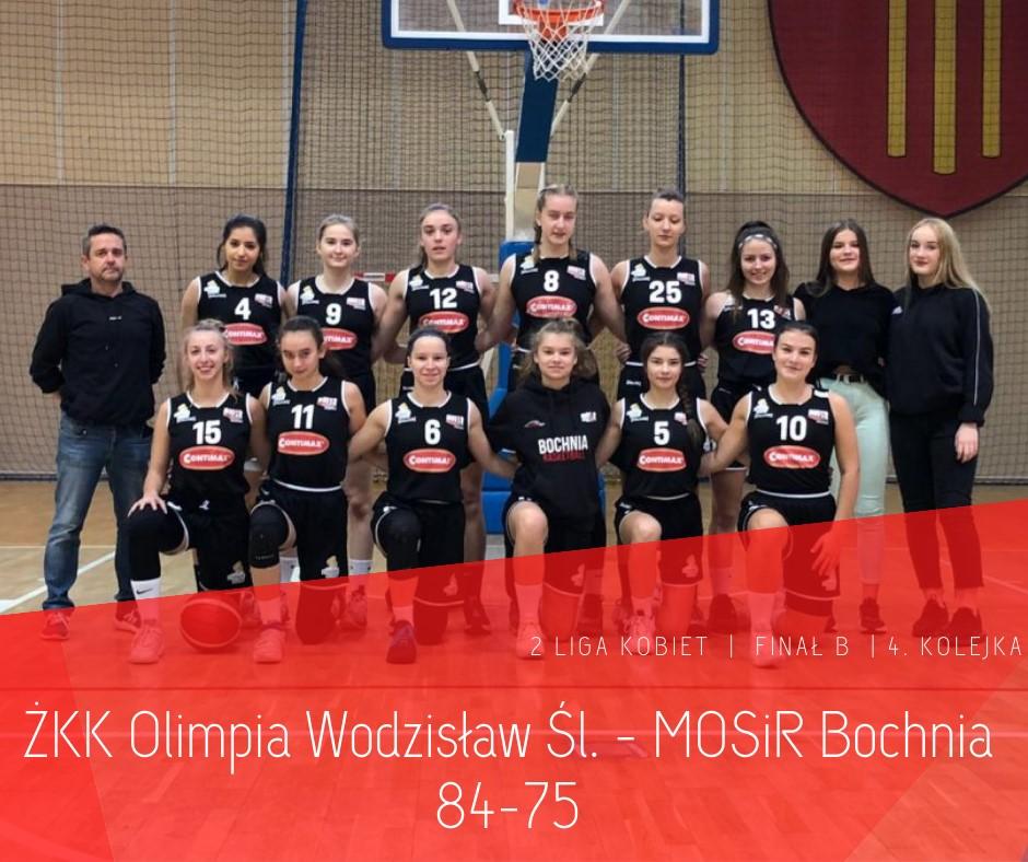 Wyjazdowa porażka. ŻKK Olimpia Wodzisław Śląski – MOSiR Bochnia 84:75  / 2 Liga Koszykówka Kobiet