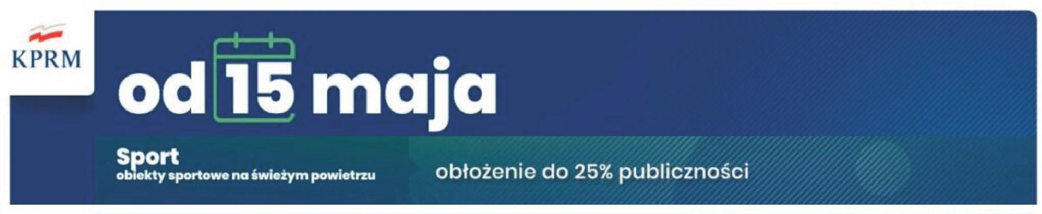 Sport od 15 maja z publicznością do 25 %