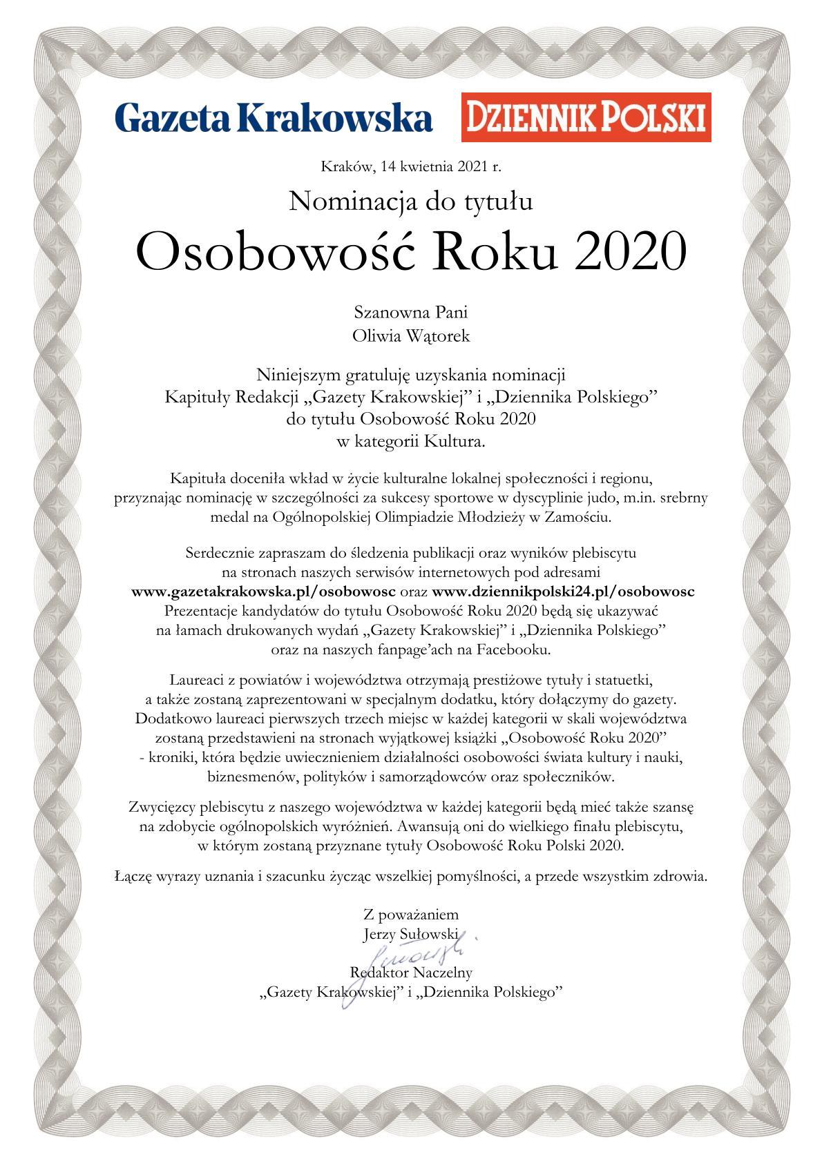 """Nominacja Oliwii Wątorek do tytułu Osobowość Roku 2020 w plebiscycie """"Gazety Krakowskiej"""" i """"Dziennika Polskiego"""""""