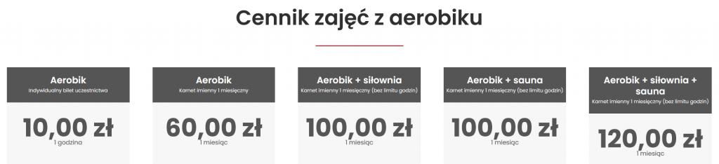 Aerobik MOSiR Bochnia cennik 31.12.2020
