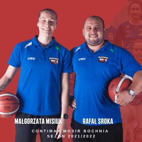 Malgorzata-Misiuk-i-Rafal-Sroka-sztab-trenerski-Contimax-MOSiR-Bochnia-w-sezonie-20212022