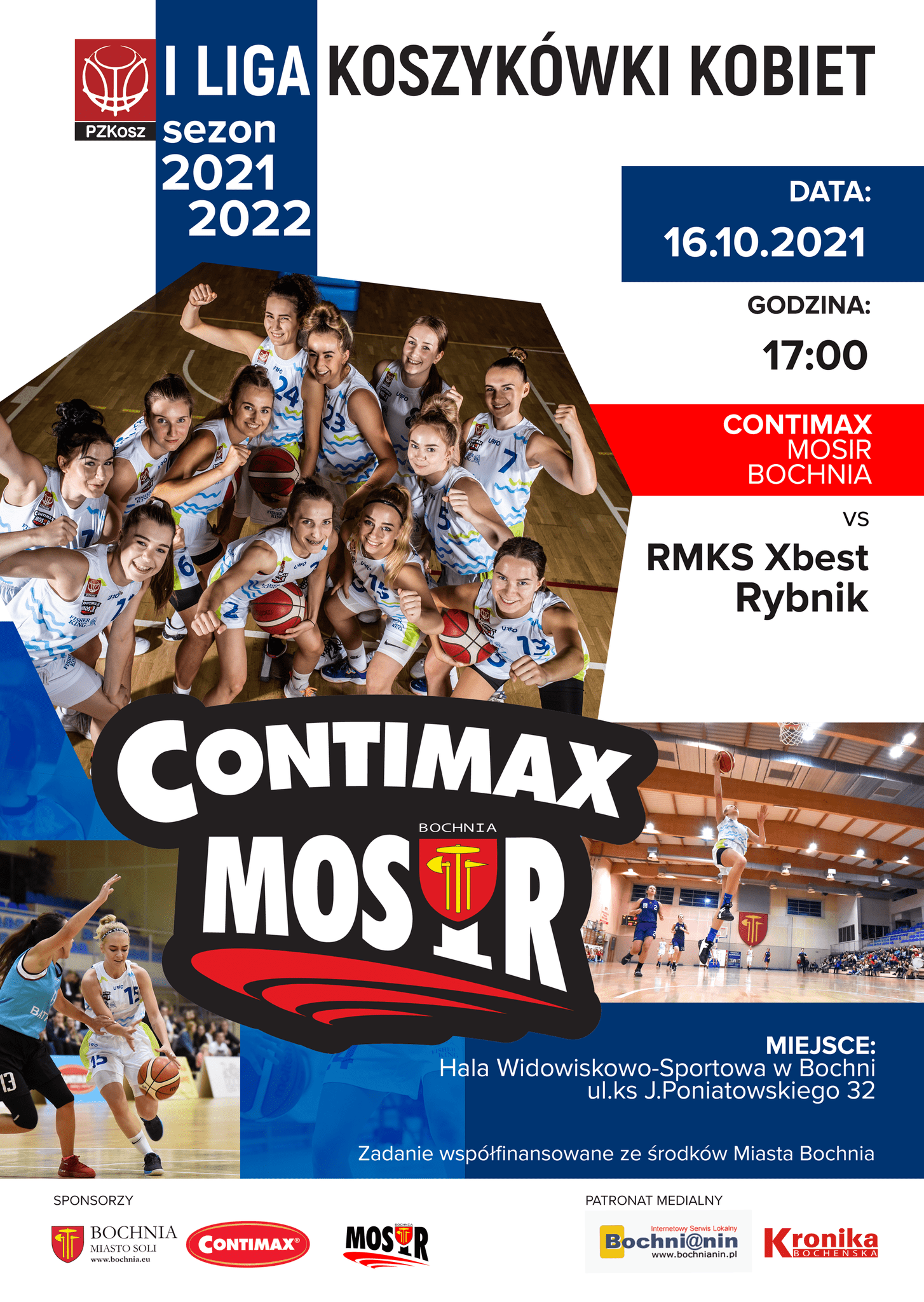 Zapraszamy na mecz 1 ligi koszykówki kobiet: Contimax MOSiR Bochnia – RMKS Xbest Rybnik 16.10.2021