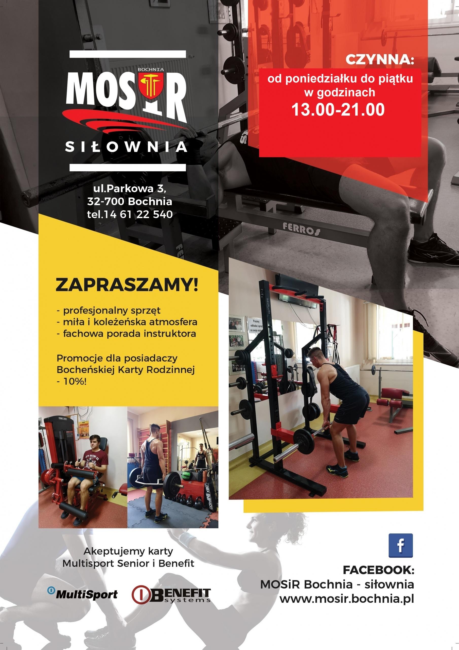 Zapraszamy na siłownię MOSiR Bochnia przy ul. Parkowej!